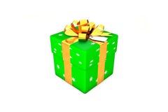 3d例证:有星、金黄金属丝带/弓和标记的鲜绿色的礼物盒在被隔绝的白色背景 免版税图库摄影
