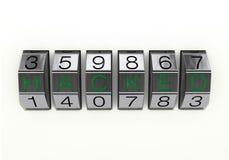 3d例证:金属6数字有黑'被乱砍的'数字和绿色文本的号码锁接近的看法,隔绝在白色backgr 图库摄影