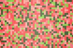 3d例证:马赛克抽象背景,色的块红色,上升了,变粉红色,光和深绿,嫩绿,叶茂盛,鲜绿色颜色 免版税库存照片