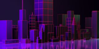 3d例证 夜与霓虹焕发和生动的颜色的城市布局 皇族释放例证