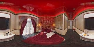 3d例证360度卧室全景  免版税库存照片