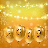 3d例证 迅速增加在黄色背景的生日聚会装饰 2019年 向量例证