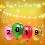3d例证 迅速增加在黄色背景的生日聚会装饰 2019年 库存例证