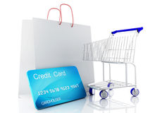 3d信用推车 背景袋子概念行程购物的白人妇女 免版税图库摄影