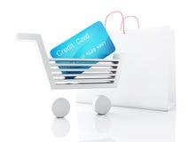 3d信用推车 背景袋子概念行程购物的白人妇女 库存图片