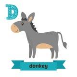 驴 D信件 逗人喜爱的在传染媒介的儿童动物字母表 滑稽 库存照片