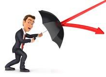 3d停止与伞的商人箭头 库存照片