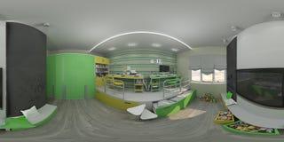 3d儿童` s的例证室内设计 免版税库存图片