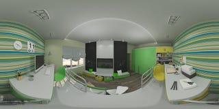 3d儿童` s的例证室内设计 库存照片