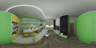 3d儿童` s的例证室内设计 库存图片