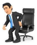 3D充满背部疼痛的商人 免版税库存图片
