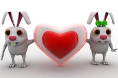 3d兔子加上爱心脏在概念之间塑造 库存照片