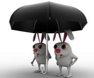 3d兔子夫妇根据黑伞概念 免版税库存图片