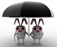 3d兔子夫妇根据黑伞概念 免版税库存照片