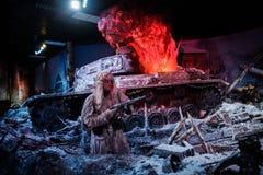 """3D全景叫""""Moscow 1941年 在""""Russia,我的History†历史公园的Counteroffensive† 免版税图库摄影"""