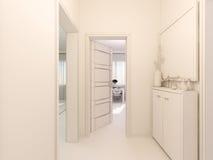 3D内部的形象化在单室公寓designkitchen 免版税库存照片