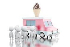 3d冰淇凌有排队的白人的食物卡车 免版税图库摄影
