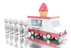 3d冰淇凌有排队的白人的食物卡车 免版税库存图片