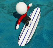 3d冲浪在冲浪板和佩带的设备的白人 图库摄影