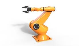3d凉快的工业机器人胳膊翻译在一白色backgrou的 库存图片