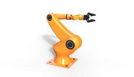 3d凉快的工业机器人胳膊翻译在白色的 免版税库存图片