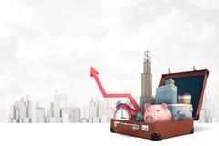 3d减速火箭的手提箱翻译有红色闹钟的,存钱罐,金属银行保险柜,红色图箭头,企业摩天大楼 库存照片