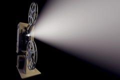 3D减速火箭的电影放映机的例证有光束的 库存照片