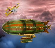 3D减速火箭的Steampunk策帕林飞艇和飞机场面的例证 皇族释放例证