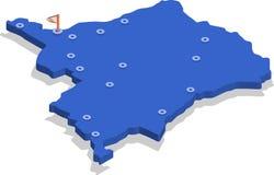 3d刚果民主共和国的等轴测图地图有蓝色表面和城市的 免版税库存照片