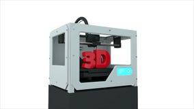 3D创造3D文本的打印设备 整个过程加速 现实动画 皇族释放例证