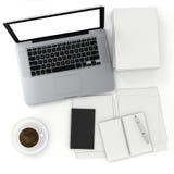3d办公桌的顶视图有膝上型计算机和文件的 皇族释放例证