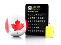 3d加拿大机场在白色backgroun的板和旅行手提箱 免版税库存照片