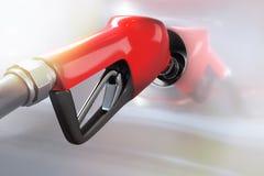 3d加油对一辆白色汽车的红色汽油分配器翻译  库存照片