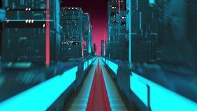 3D动画数字式在摩天大楼之间的市飞行在路从服务器 库存例证