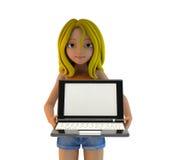 3d动画片女孩和膝上型计算机 库存图片