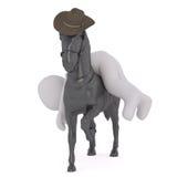 3D动画片男性形象在他的马分发  免版税库存照片