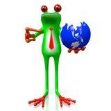 3D动画片青蛙-地球概念 免版税库存照片