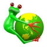 3D动画片青蛙-地球概念 免版税库存图片