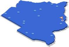 3d博茨瓦纳的等轴测图地图有蓝色表面和城市的 免版税图库摄影
