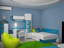 3D卧室室内设计的形象化 免版税库存照片