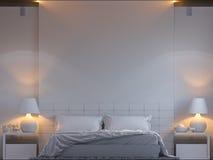 3d卧室室内设计翻译在一个现代样式的 向量例证
