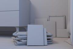3d卧室的例证斯堪的纳维亚样式的没有伙伴 免版税库存图片
