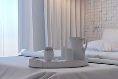 3d卧室的例证斯堪的纳维亚样式的没有伙伴 免版税图库摄影