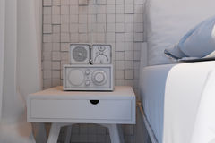 3d卧室的例证斯堪的纳维亚样式的没有伙伴 免版税库存照片
