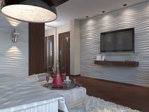 3d卧室的例证棕色颜色的 免版税库存图片