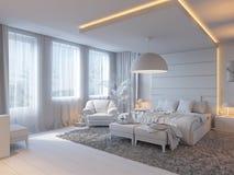 3d卧室的例证棕色颜色的 免版税库存照片