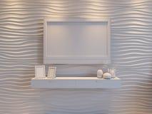 3d卧室的例证棕色颜色的 免版税图库摄影