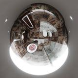 3d卫生间室内设计例证无缝的全景  免版税库存照片