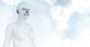3D反对天空和云彩的女性形状的二进制编码 免版税库存图片