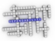 3d可靠性概念词云彩 图库摄影